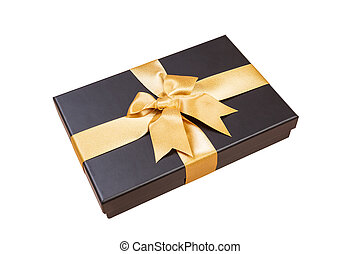 black gift box with gold ribbon and a bow on white background