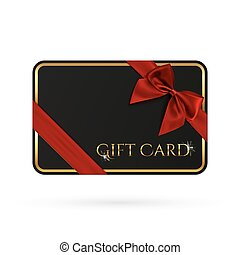 Black gift card template with red ribbon and a bow.