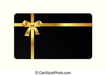 black gift card with golden bow ribbon