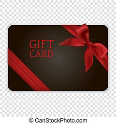 Black gift card with red bow and ribbon, EPS10