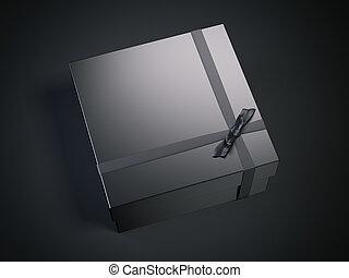 Black gift package. 3d rendering