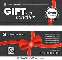 Gift voucher - Black Gift voucher template with decorative...