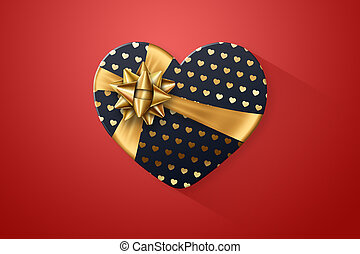 Black gift wrap, box in the shape of a heart with a festive gold bow, black gold, on a red background. Romance, Valentine's Day, love.