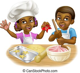 Black Girl and Boy Cartoon Child Chef Cook Kids
