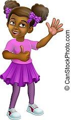 Black Girl Cartoon Child Kid Thumbs Up Waving