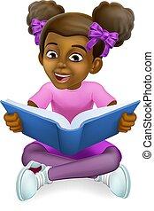 Black Girl Child Cartoon Kid Reading Book