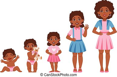 Black Girl Growing Stages With Illustrations In Different...