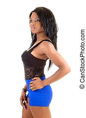 Black girl in profile.