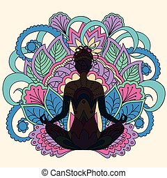 black girl in yoga lotus background - Hand drawn composition...