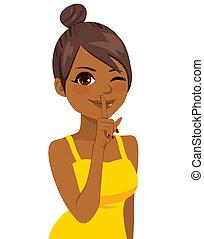 Black Girl Making Silence Gesture