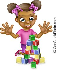 Black Girl Playing With Building Blocks