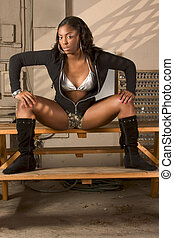 black girl spreads legs