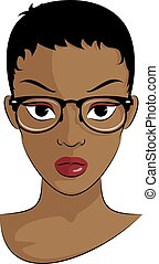 Black Girl With Eye Glasses - Short Haired Black Girl With...