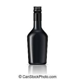 Black glass liqueur bottle with screw cap.. Vector...