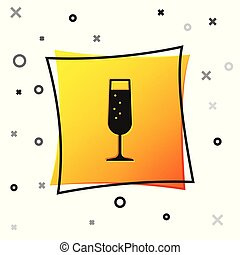 Black Glass of champagne icon isolated on white background. Yellow square button. Vector Illustration