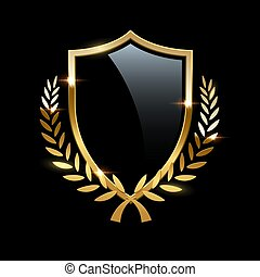 Black glass shield with golden frame and golden laurel wreath isolated on black background. Vector design element.