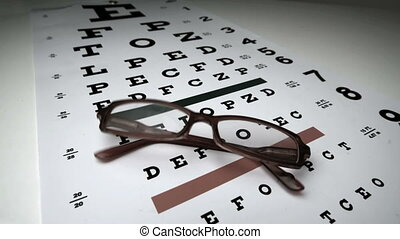 Black glasses falling onto eye test in slow motion