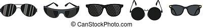 Black glasses icon set, flat style