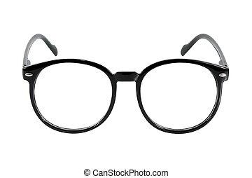 black glasses, isolated on white background