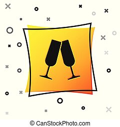 Black Glasses of champagne icon isolated on white background. Yellow square button. Vector Illustration