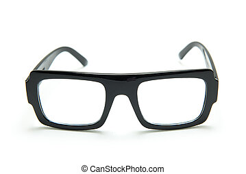 Black glasses on white background