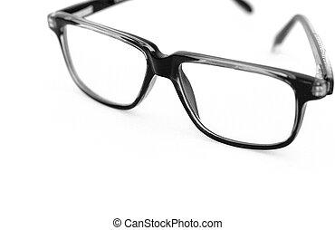Black glasses over white background