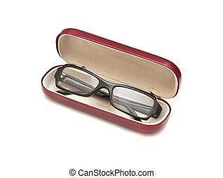Black glasses with case, isolated on white background