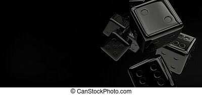 Black Glassy Craps Dices Concept Banner. 3D Rendered...