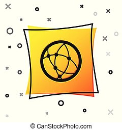 Black Global technology or social network icon isolated on white background. Yellow square button. Vector Illustration