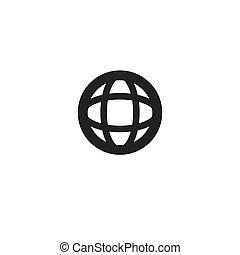 Black globe line icon