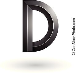 Black Glossy and Bold 3d Geometrical Letter D Vector Illustration
