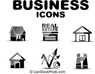 Black glossy business icon set - Black vector glossy...