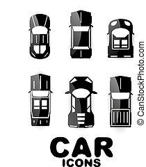 Black glossy car icon set