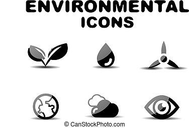 Black glossy environmental icon set