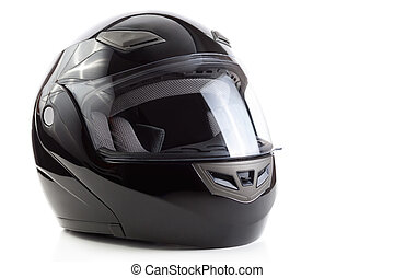 Black, glossy motorcycle helmet