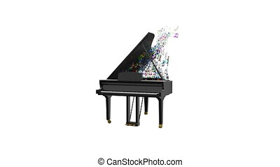 Black glossy piano with flying notes. - 4K animation of...