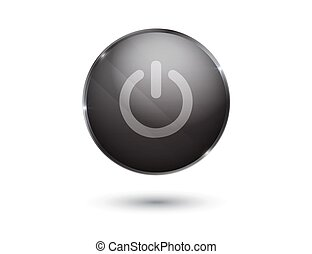 black glossy power button
