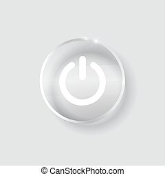 black glossy power button transparent