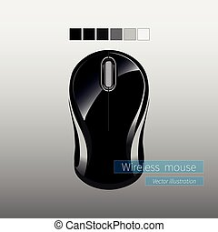 Black glossy realistic wireless computer mouse on white background.