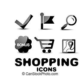 Black glossy shopping icon set