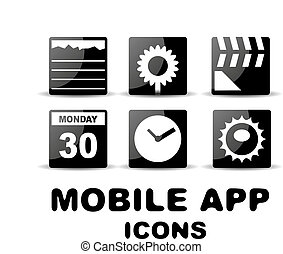 Black glossy square mobile app icons