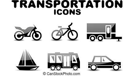 Black glossy transportation icon set