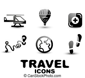 Black glossy travel icon set