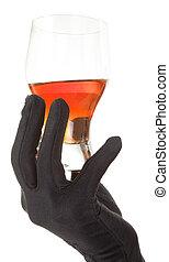 glass of amber-brown liquid