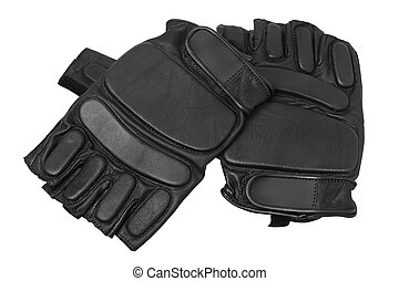 black gloves for training on a white background isolated Fitness gloves