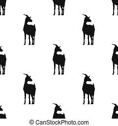 Black goat icon isolated seamless pattern on white background. Vector