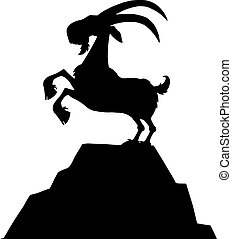 Black Goat Silhouette On Top Of A Mountain Peak Isolated On...