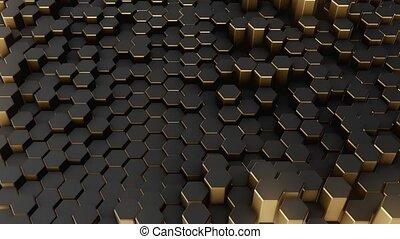 Black-gold abstract field hexagon 4k