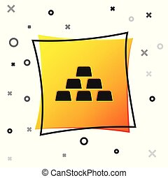 Black Gold bars icon isolated on white background. Banking business concept. Yellow square button. Vector Illustration