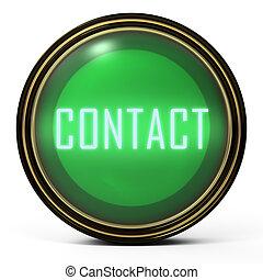 Black Gold button Contact - Black Gold button. Green orb...